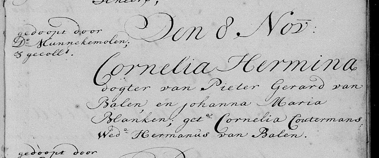 Doop van Cornelia, 8 oktober 1750 te Den Haag