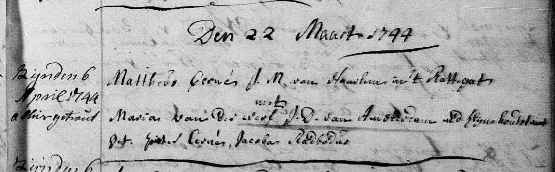 bron: DTB Haarlem, ondertrouw 22 maart 1744 (Ned. Geref.)