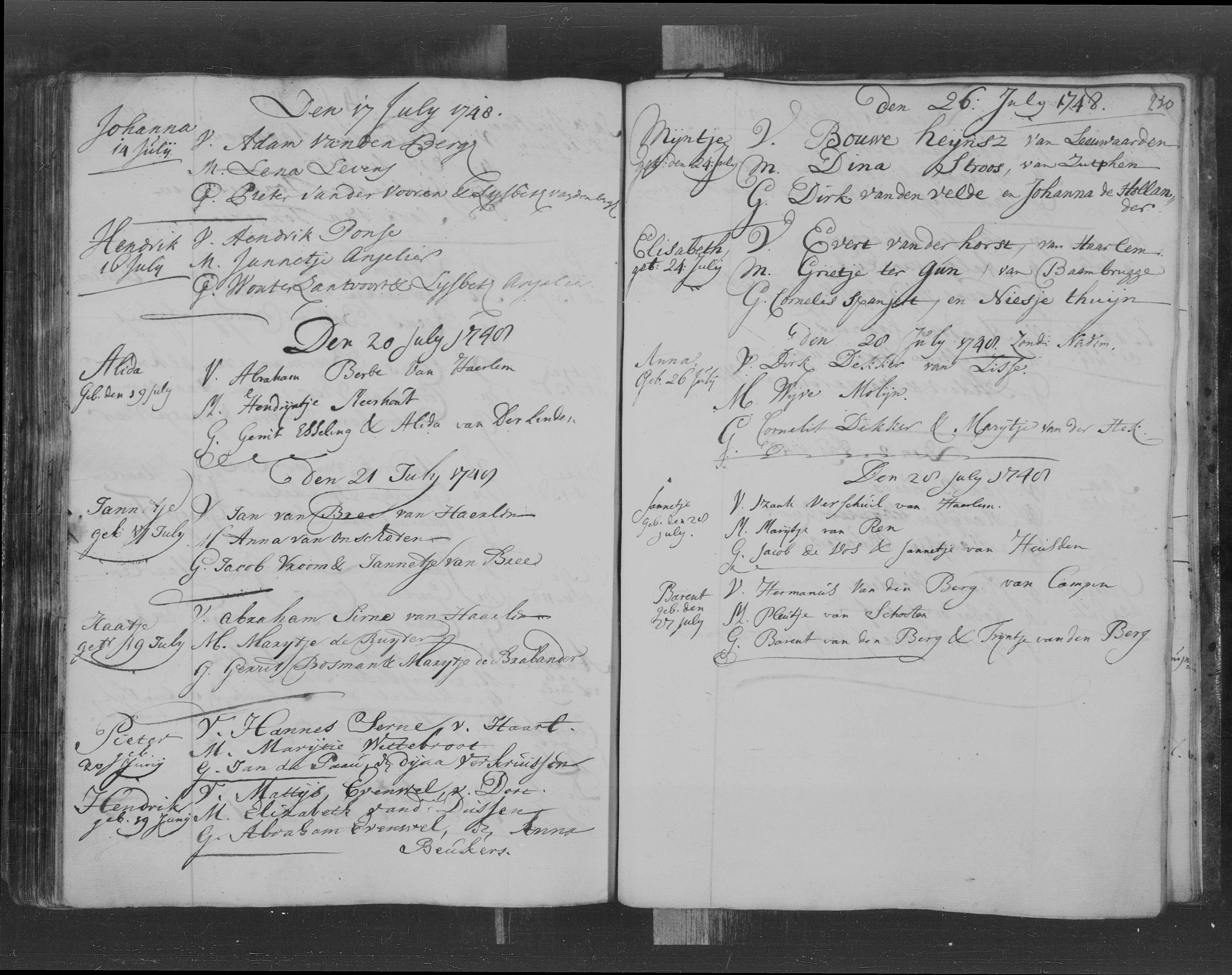 pagina uit het doopboek van de Nederduits Gereformeerde kerk van Haarlem (21-07-1748)
