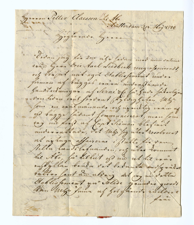 Brief van Pieter Julius Serné aan Petter Claesson (1780) p.1
