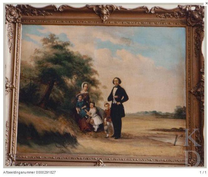 Portret van Pieter Alexander Serné met zijn gezin (1848)